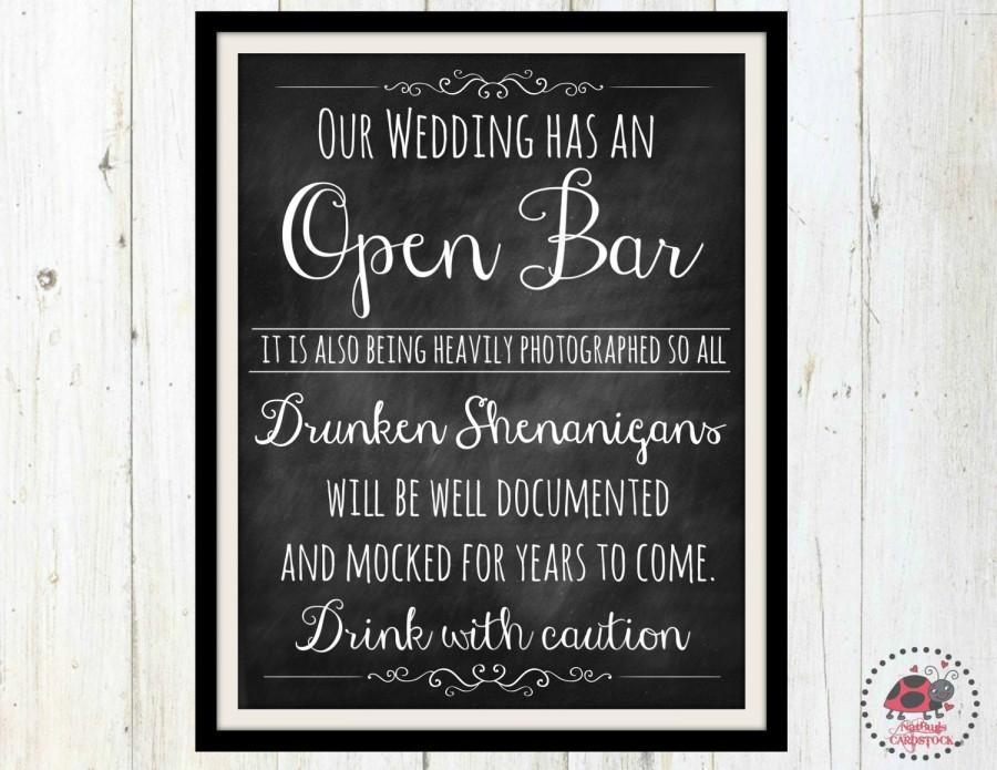 Chalkboard Wedding Signs, Printable Open Bar Wedding Sign, Bar Sign