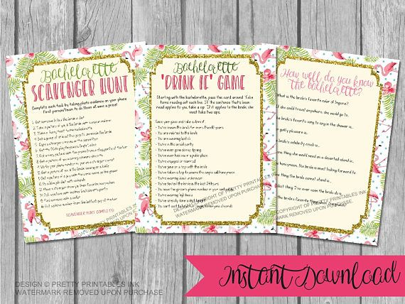 Printable Bachelorette Games / Bachelorette Party Games / Flamingo