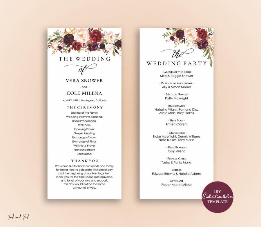 Editable Wedding Program Template, Order Of Ceremony Template