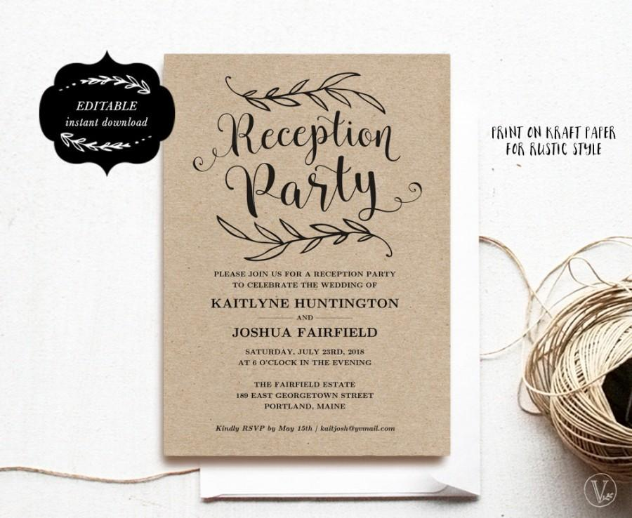 Wedding Reception Party Invitation Template, Kraft Reception Card