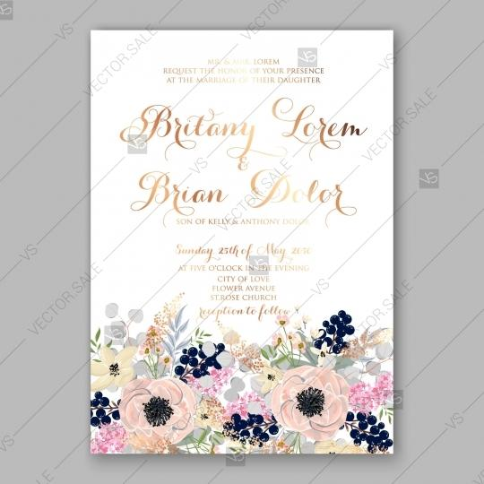 Anemone Wedding Invitation Card Printable Template Greeting Card
