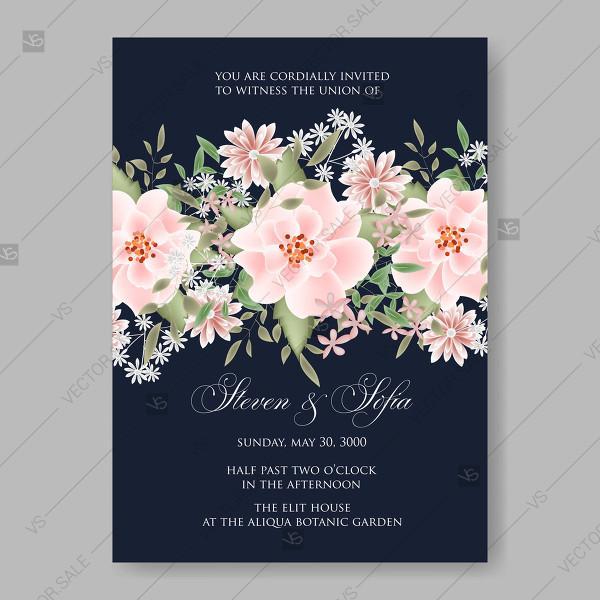 Pink Rose Dumalis Clematis Wedding Invitation Vector Card Template