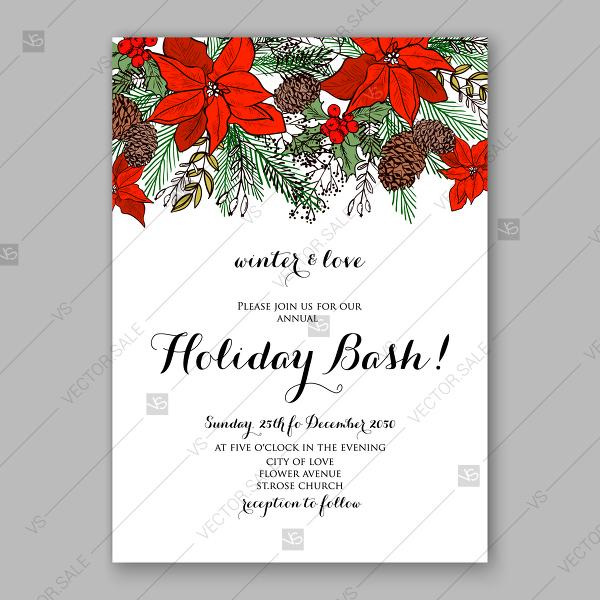 Christmas Invitation Template Winter Floral Background Red