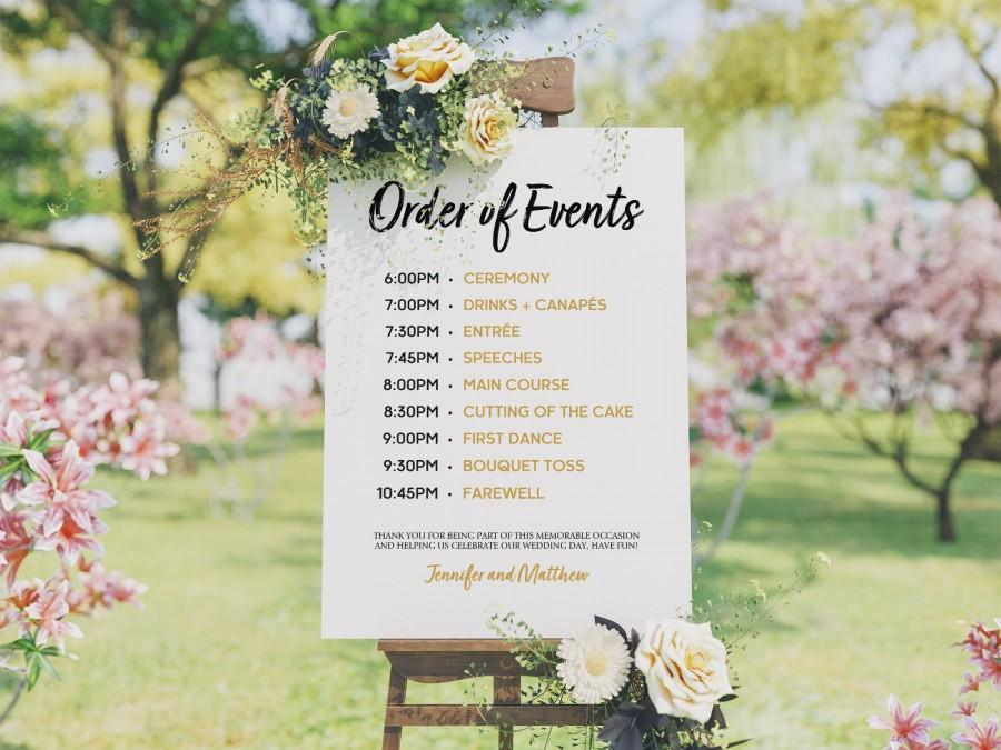 Wedding Program Template - Order Of Events Sign - Wedding Schedule