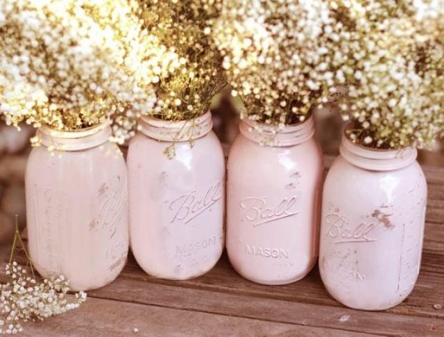 Shabby Chic Weddings Mason Jars Distressed Paint Glass