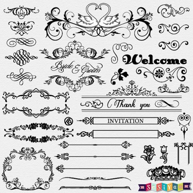INSTANT DOWNLOAD Vintage Ornament Flower Calligraphy Digital Clip