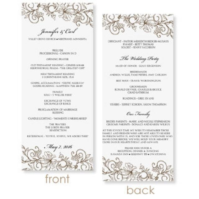 INSTANT DOWNLOAD - Wedding Program Template - Vintage Bouquet (Mocha