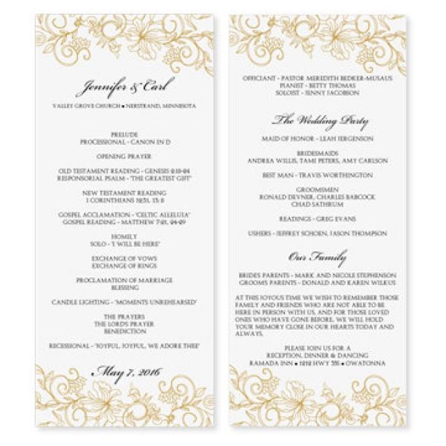 Wedding Program Template - Download Instantly - EDIT YOURSELF