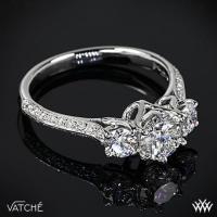 "Platinum Vatche 324 ""Swan"" 3 Stone Engagement Ring"