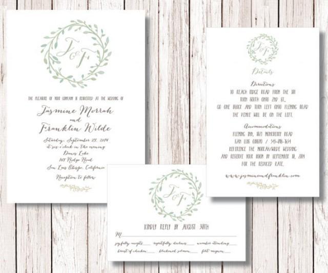 Wedding Invitation Suite, Wreath Wedding Invitation, Wedding