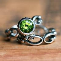 Peridot Engagement Ring Set - Bezel Solitaire - Recycled ...