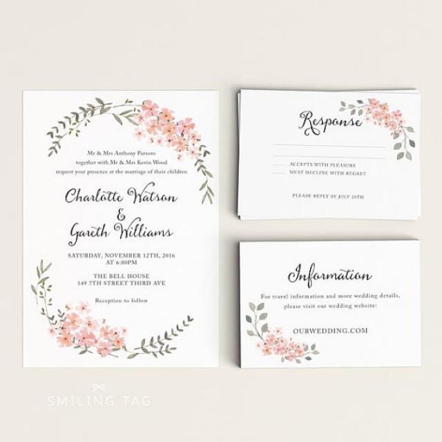 Printable Wedding Invitation Set - Watercolor Floral Garden - Ready