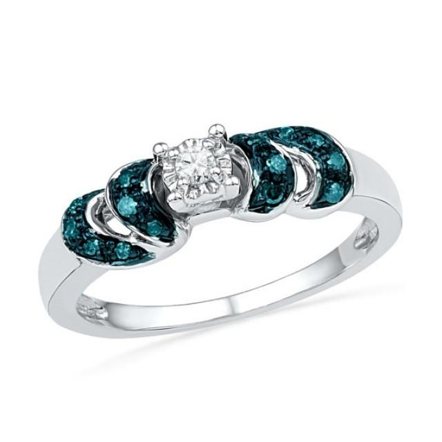 Blue And White Diamond Engagement Ring, White Gold Or