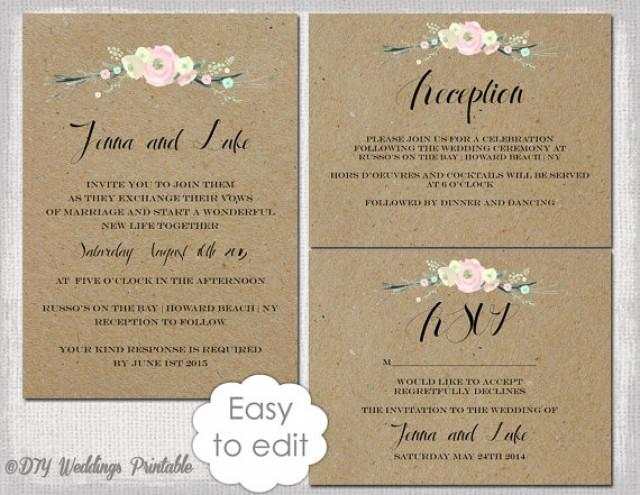 Rustic Wedding Invitation Templates DIY \