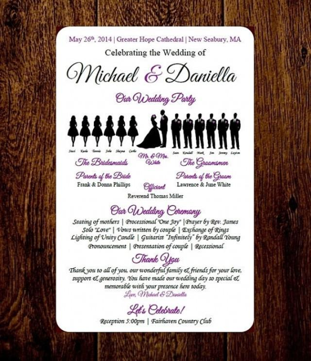DIY Wedding Program Template - Choose Number Of Silhouettes - SHORT