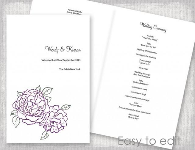 Wedding Program Template Amethyst Purple And Green \