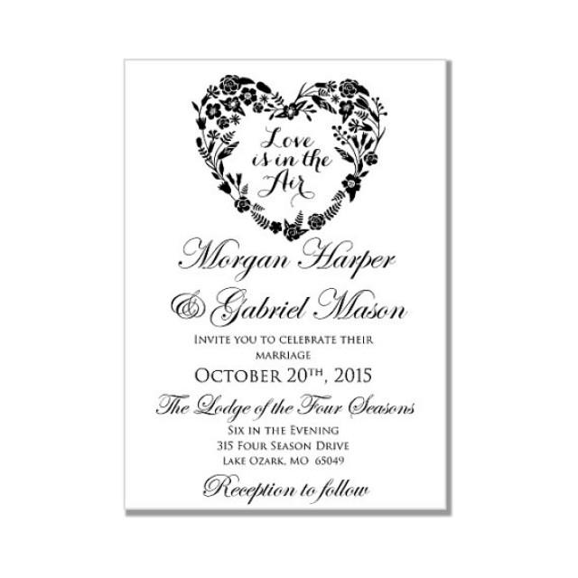 Wedding Invitation Template - Love Is In The Air - Heart Wedding