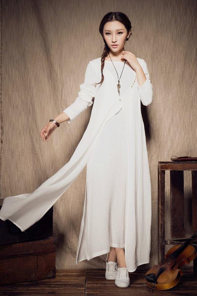 Maxi Linen Dress In White, White Dress, Bridesmaid Dress