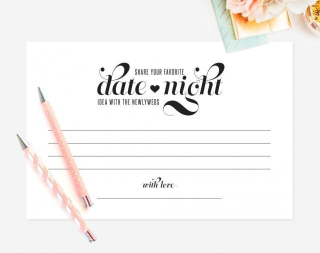 Date Night Idea, Date Night Card, Wedding Keepsake, Idea Card