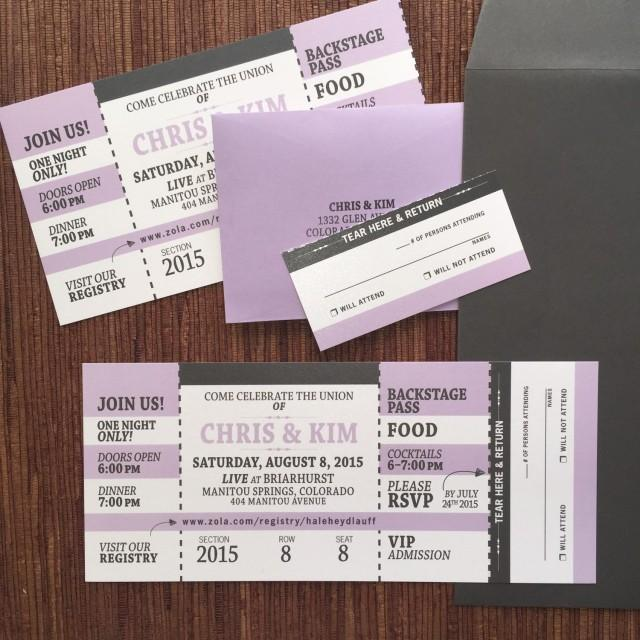 Concert Ticket Invitation With RSVP Tear-off Stub / Wedding - concert ticket invitations
