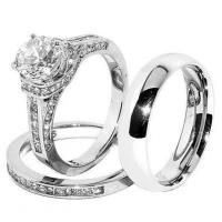 His & Hers Set, Stainless Steel, Wedding Ring Set, CZ Ring ...