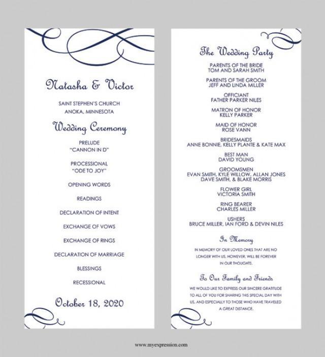 Wedding Program Template \u2013 Tea Length - Calligraphic Flourish (Navy