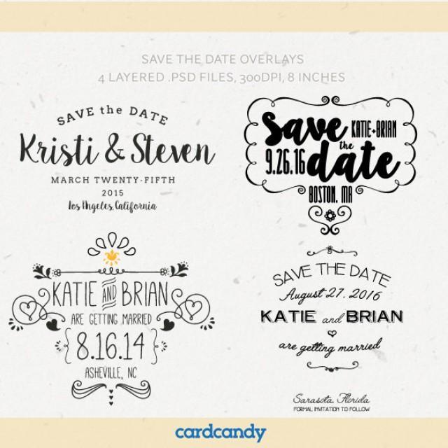 Digital Save The Date Overlays - Wedding Photo Card Overlays