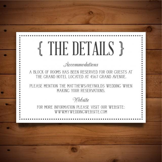 Printable Vintage Wedding Information Card Template - Dark Grey