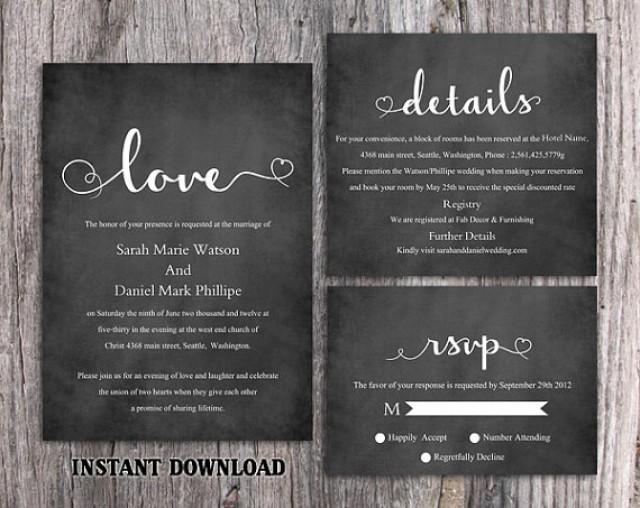 DIY Wedding Invitation Template Set Editable Word File Download - chalk board invitation template