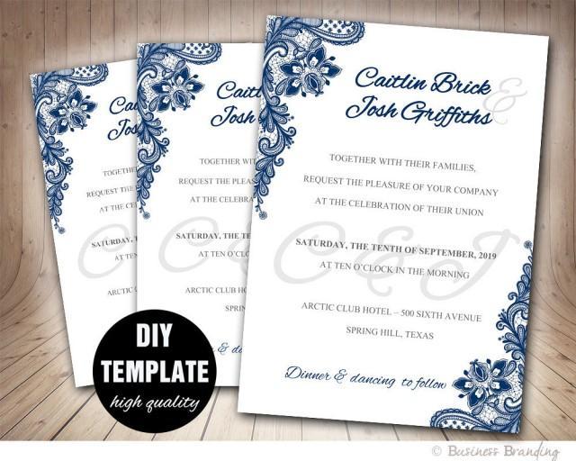 Navy Blue Wedding Invitation Template Diyinstant Download