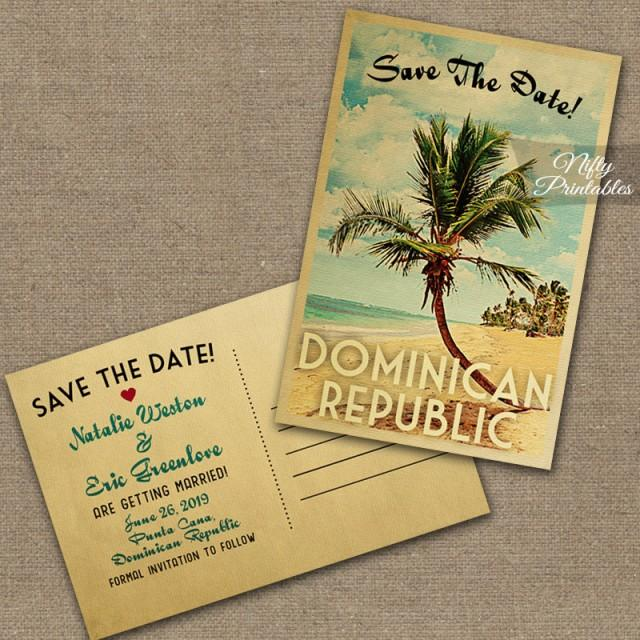 Beach Save The Date Postcard - Palm Tree Save The Date Cards - save date postcard