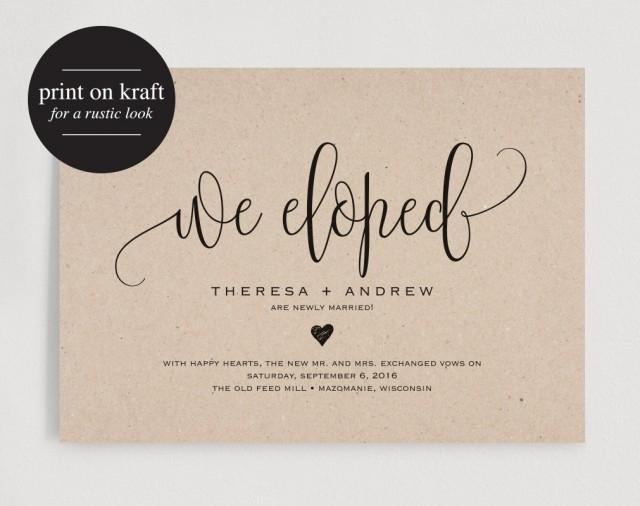 We Eloped Wedding Announcement, Elopement Announcement Printable