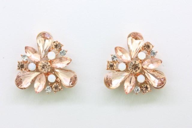 Rose Gold White Opal Crystal Earringsbridal Earrings