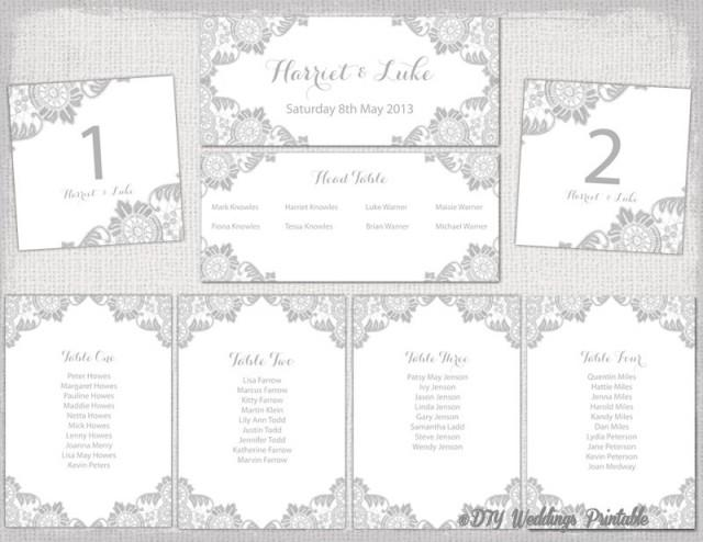 Wedding Seating Chart Template Silver Gray \