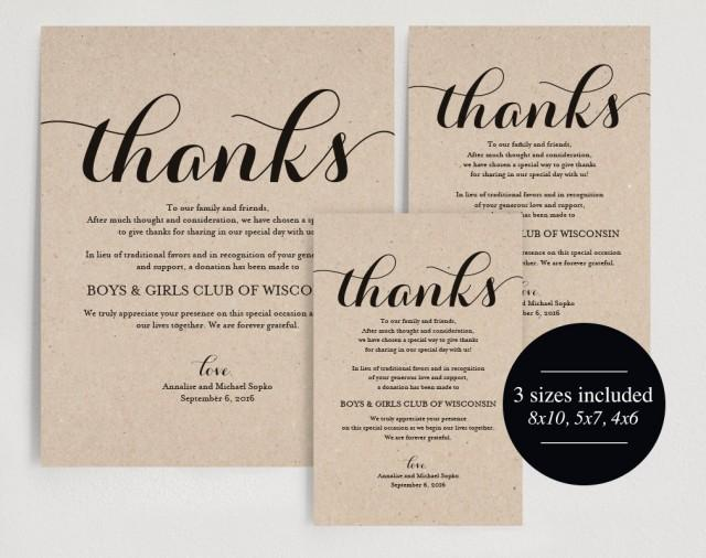 In Lieu Of Wedding Favors Wedding Donation Sign Charity