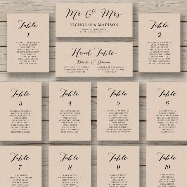 Wedding Seating Chart Template - Printable Seating Chart - Editable - printable seating charts