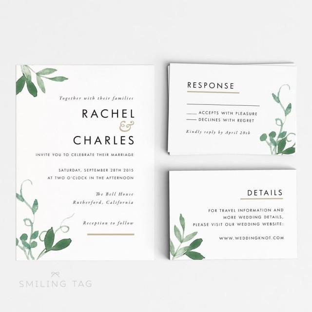 Printable Wedding Invitation Set - Modern Botanical Wedding Invites