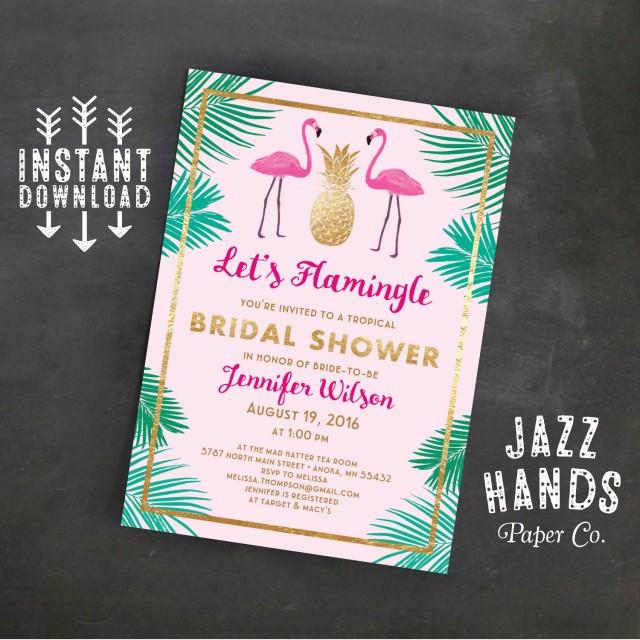 Let\u0027s Flamingle Printable Bridal Shower Invitation Template
