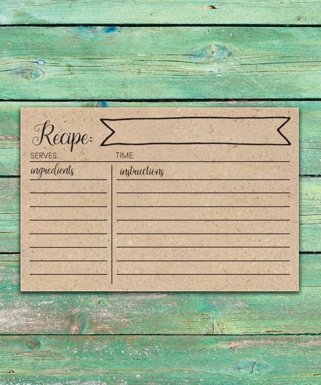 Rustic Bridal Shower Recipe Cards Printable Recipe Cards 4x6 Rustic