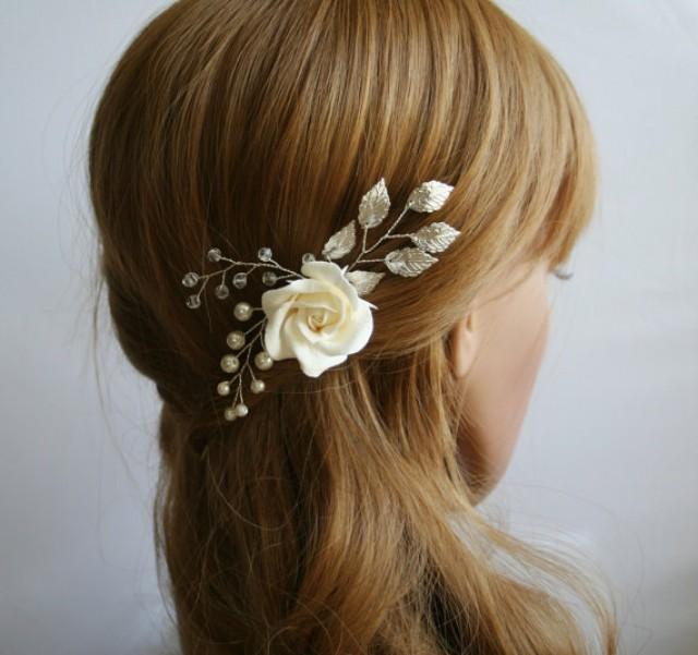 Clay Rose, Wedding Flower Hair Pin, Bridal Flower Hair Pin