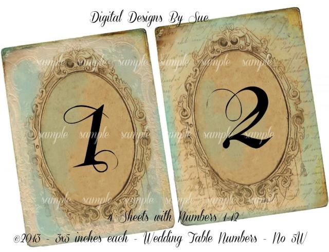 Instant Download - Vintage Wedding Table Number Cards No 5W - 3 X 5