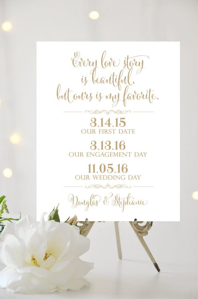 Our Love Story Wedding Sign - 8 X 10 Or 11 X 14 Or 16 X 20
