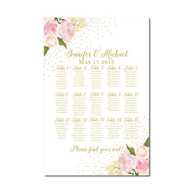 Wedding Seating Chart - Rustic Wedding - Floral Wedding - Printable - printable seating charts