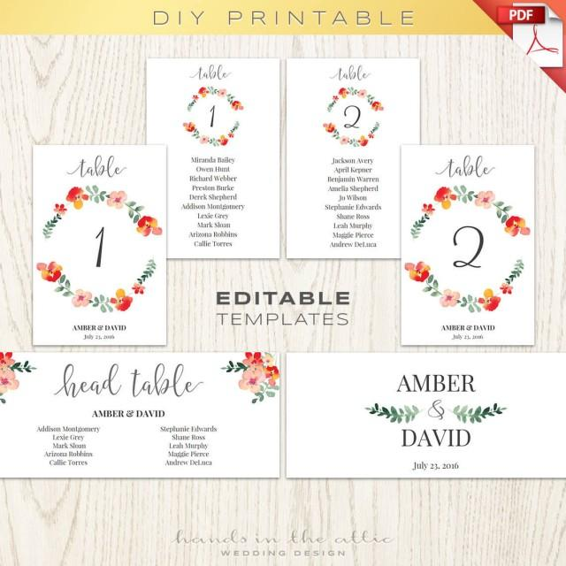Wedding Table Numbers, Number Printables, Seating Chart, Floral - number chart template