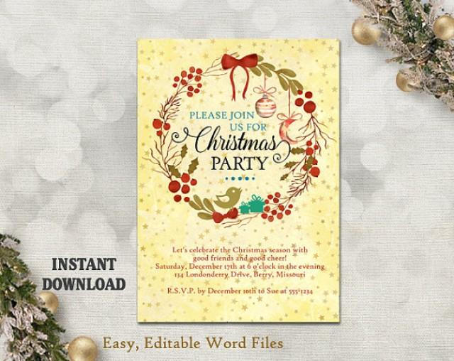 Printable Christmas Party Invitation Template - Wreath - Holiday - christmas card word template