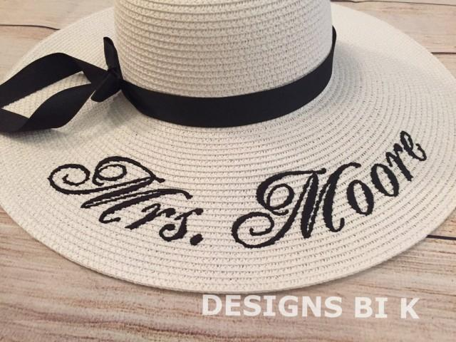 monogrammed floppy beach hat