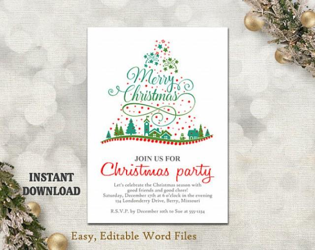 Christmas Party Invitation Template - Printable Christmas Tree