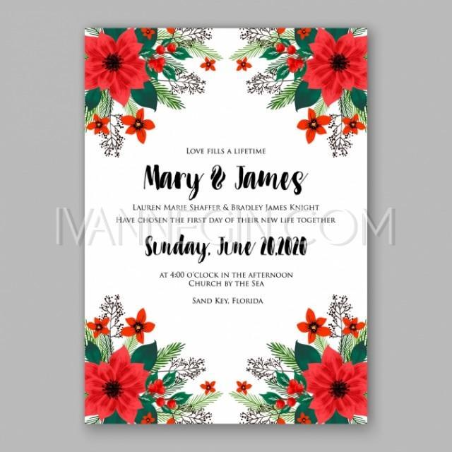 Poinsettia Wedding Invitation Sample Card Beautiful Winter Floral - christmas cards sample