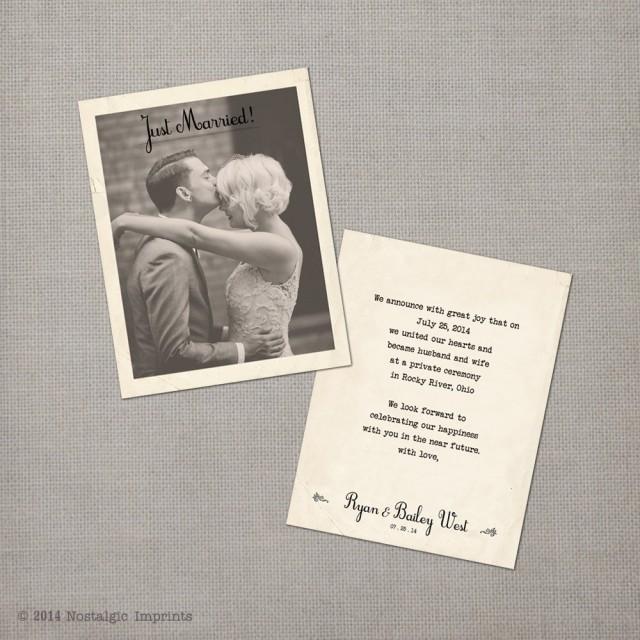 Wedding Announcement / Vintage Wedding Announcement Cards / Elopment