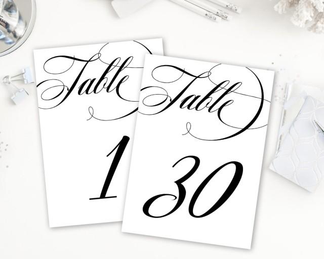 Calligraphy Table Numbers, Table Numbers Printable, Numbers 1-30
